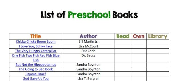 preschool books sample