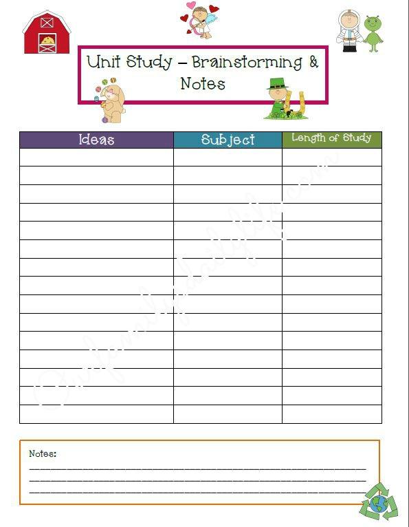 unit study planner page 2