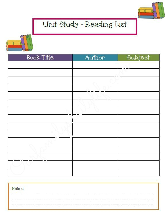 unit study planner page 3